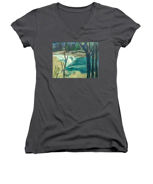 Canajoharie Creek Near Village Women's V-Neck T-Shirt (Junior Cut) by Betty Pieper