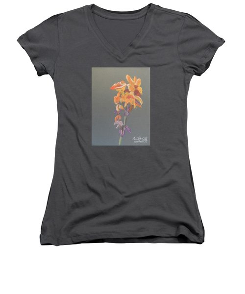 Canna Women's V-Neck T-Shirt (Junior Cut) by Pamela  Meredith