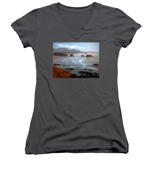 Cannon Beach At Sunset Women's V-Neck