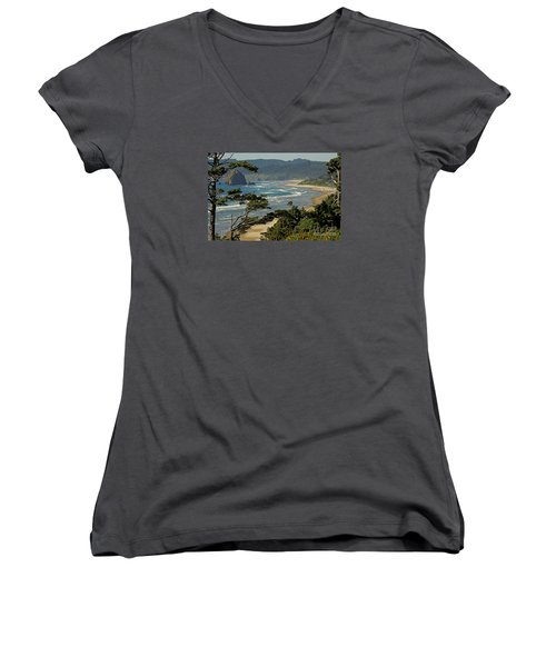 Women's V-Neck T-Shirt (Junior Cut) featuring the photograph Cannon Beach Seascape by Nick  Boren