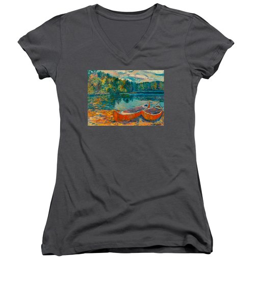 Canoes At Mountain Lake Women's V-Neck