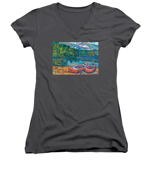 Canoes At Mountain Lake Sketch Women's V-Neck