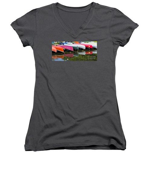 canoes - Lake Wingra - Madison  Women's V-Neck T-Shirt (Junior Cut) by Steven Ralser
