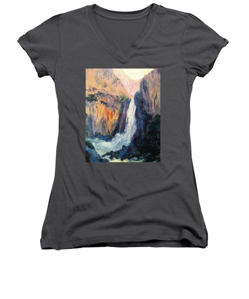 Canyon Blues Women's V-Neck T-Shirt (Junior Cut) by Gail Kirtz