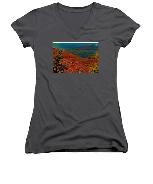 Canyon Colours Show Through Women's V-Neck (Athletic Fit)