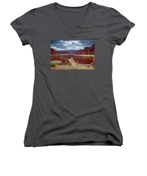 Women's V-Neck T-Shirt (Junior Cut) featuring the photograph Canyonlands by Juergen Klust