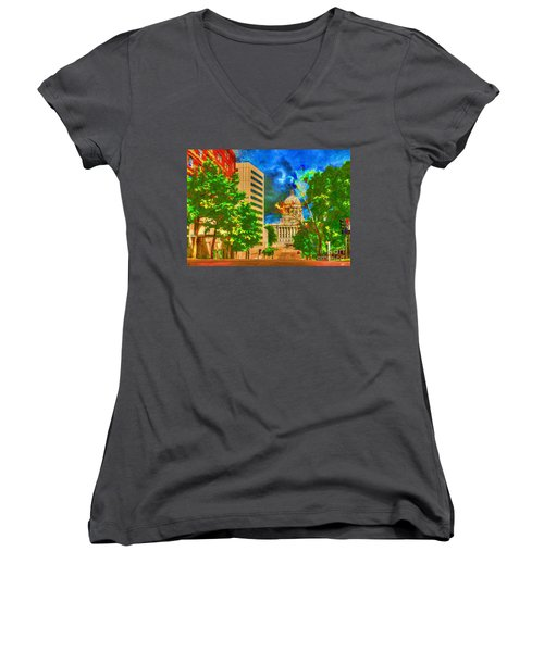 Capital - Jefferson City Missouri - Painting Women's V-Neck T-Shirt (Junior Cut) by Liane Wright