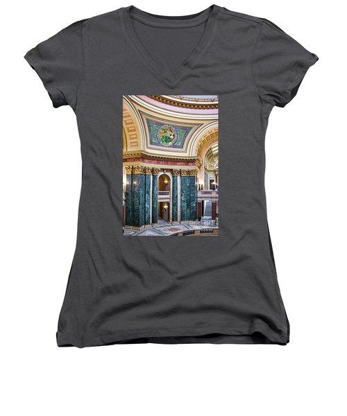 Capitol - Madison - Wisconsin Women's V-Neck T-Shirt (Junior Cut) by Steven Ralser