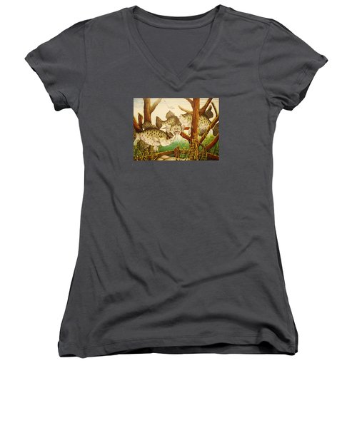 Women's V-Neck T-Shirt (Junior Cut) featuring the drawing Captivating Crappies by Bruce Bley