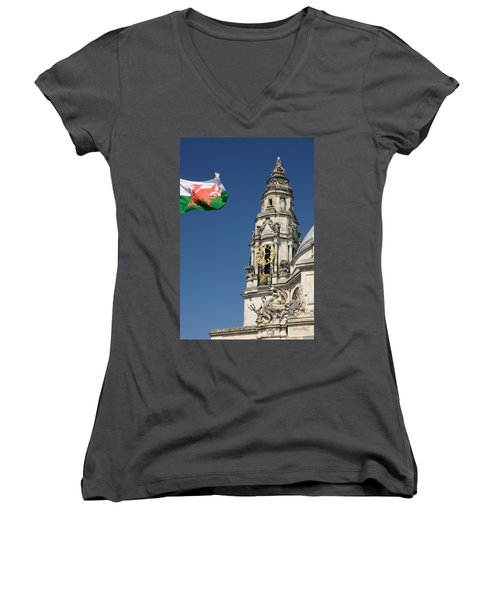 Cardiff City Hall Women's V-Neck T-Shirt (Junior Cut) by Jeremy Voisey