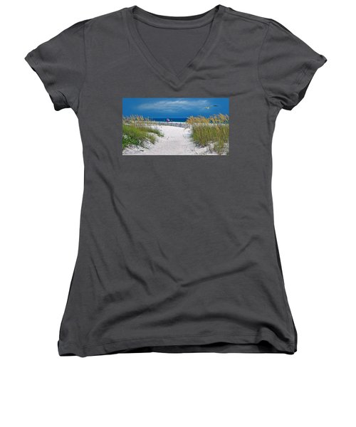 Carefree Days By The Sea Women's V-Neck (Athletic Fit)