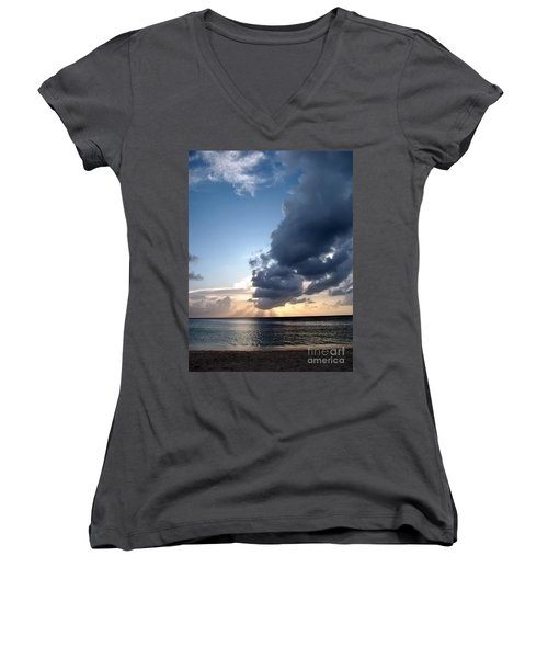 Caribbean Sunset Women's V-Neck (Athletic Fit)