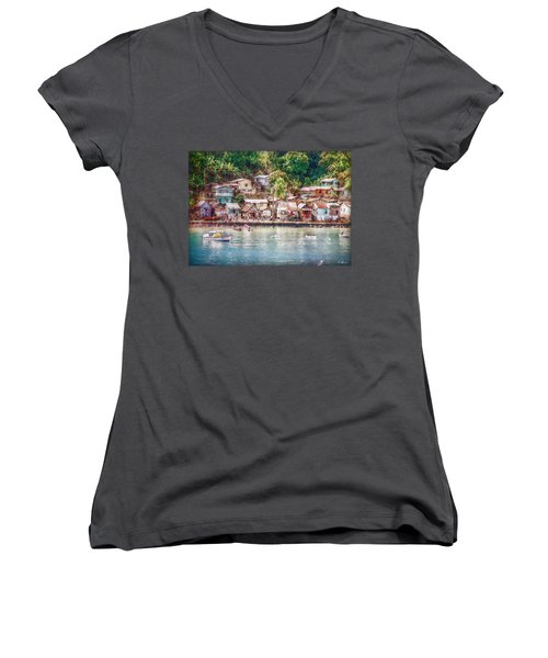 Caribbean Village Women's V-Neck T-Shirt (Junior Cut) by Hanny Heim