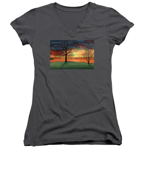 Carla's Sunrise Women's V-Neck (Athletic Fit)
