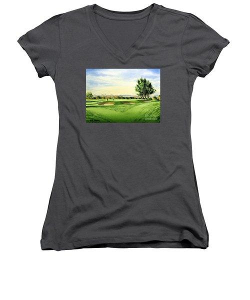 Carnoustie Golf Course 13th Green Women's V-Neck T-Shirt (Junior Cut) by Bill Holkham