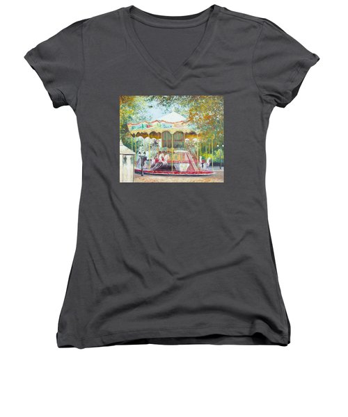 Carousel In Montmartre Paris Women's V-Neck (Athletic Fit)