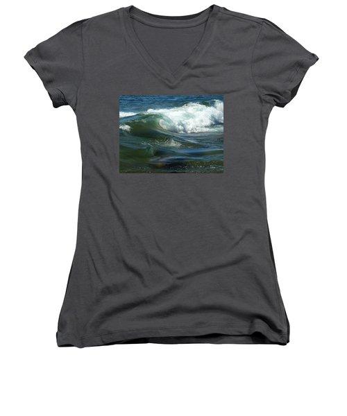 Women's V-Neck T-Shirt (Junior Cut) featuring the photograph Cascade Wave by James Peterson