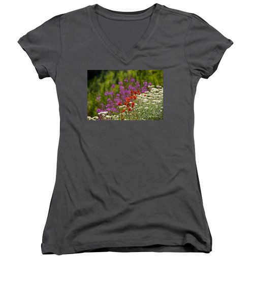 Cascade Wildflowers Women's V-Neck T-Shirt (Junior Cut) by Sean Griffin