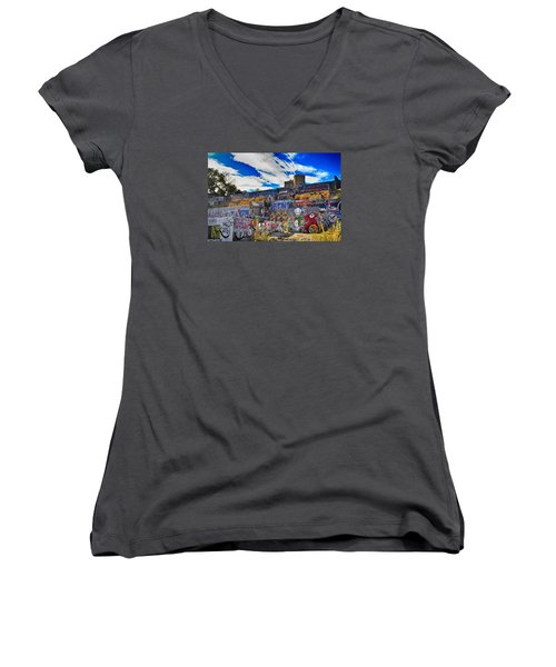 Castle Graffiti Art Women's V-Neck (Athletic Fit)
