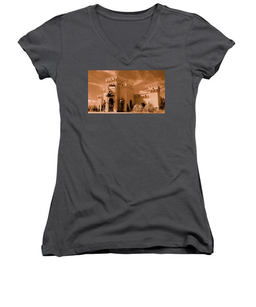 Women's V-Neck T-Shirt (Junior Cut) featuring the photograph Castle By The Road by Rodney Lee Williams