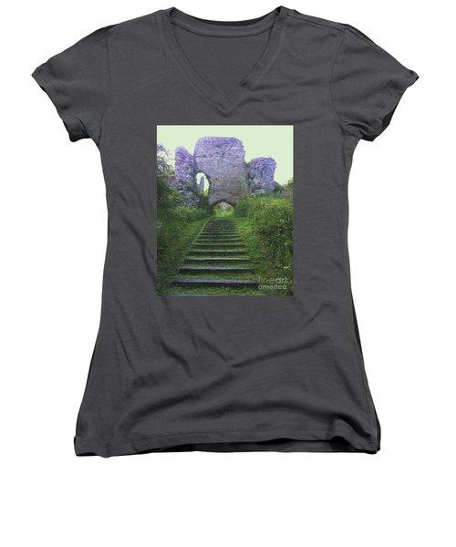 Women's V-Neck T-Shirt (Junior Cut) featuring the photograph Castle Gate by John Williams