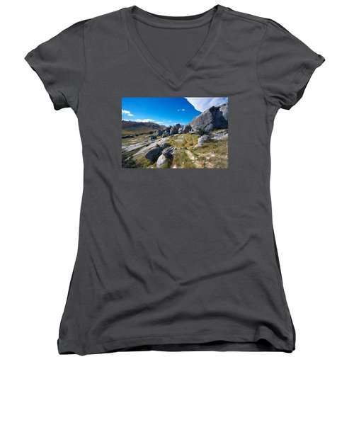 Women's V-Neck T-Shirt (Junior Cut) featuring the photograph Castle Hill #4 by Stuart Litoff