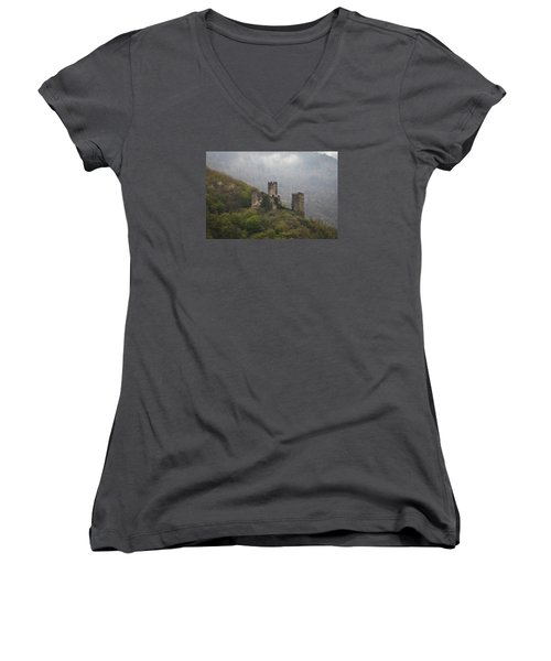 Castle In The Mountains. Women's V-Neck T-Shirt (Junior Cut) by Clare Bambers