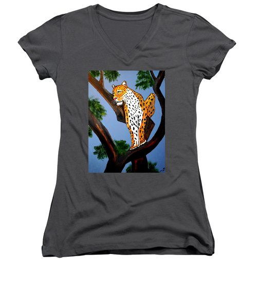 Cat On A Hot Wood Tree Women's V-Neck (Athletic Fit)