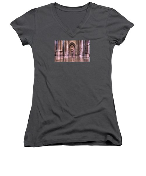 Cathedral Reflections Women's V-Neck T-Shirt (Junior Cut) by Shelley Neff