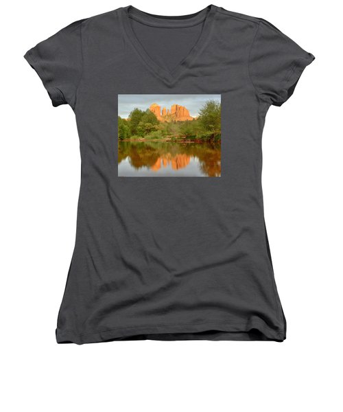 Women's V-Neck T-Shirt (Junior Cut) featuring the photograph Cathedral Rocks Reflection by Alan Vance Ley