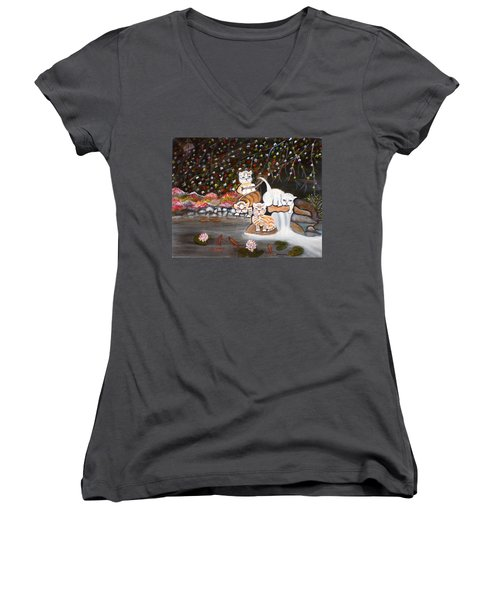 Cats In The Wild II Women's V-Neck T-Shirt