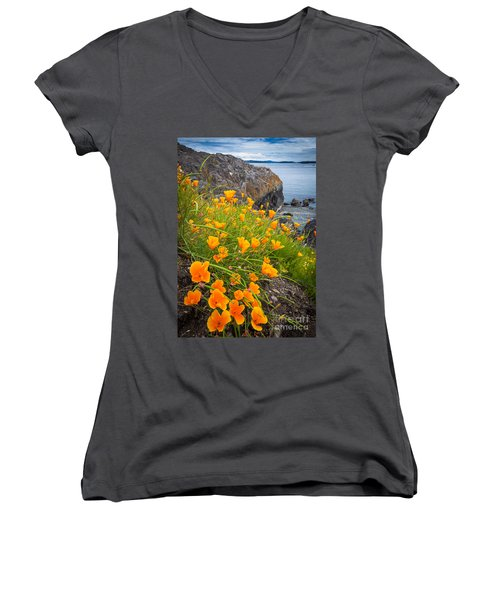 Cattle Point Poppies Women's V-Neck