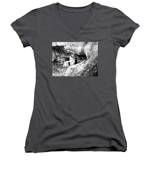 Women's V-Neck T-Shirt (Junior Cut) featuring the photograph cave church on Mt Olympus Greece by Nina Ficur Feenan