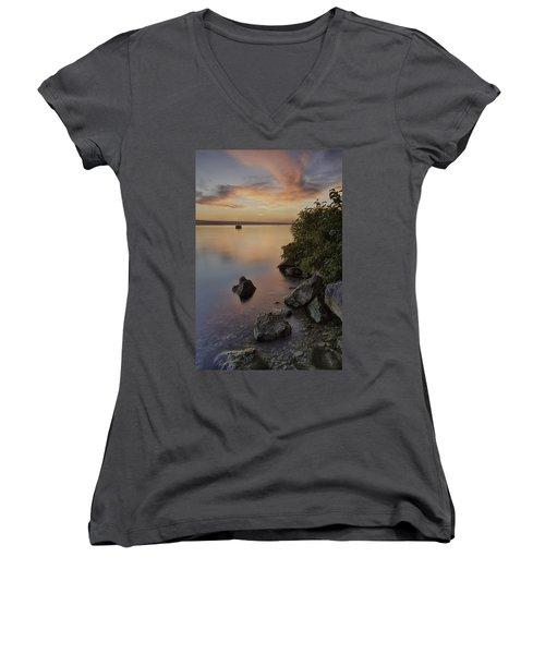 Cayuga Sunset I Women's V-Neck T-Shirt