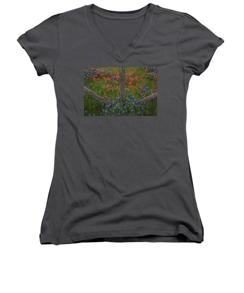 Cedar Fence In Llano Texas Women's V-Neck T-Shirt (Junior Cut) by Susan Rovira
