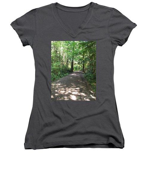 Women's V-Neck T-Shirt (Junior Cut) featuring the photograph Cedar Shadow Steps by Kim Prowse