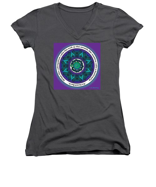 Celtic Butterfly Mandala Women's V-Neck (Athletic Fit)