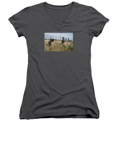 Women's V-Neck T-Shirt (Junior Cut) featuring the photograph Celtic Crosses Aran Island Cemetary by Melinda Saminski