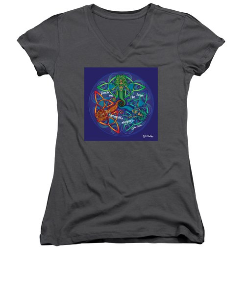 Celtic Mermaid Mandala Women's V-Neck (Athletic Fit)