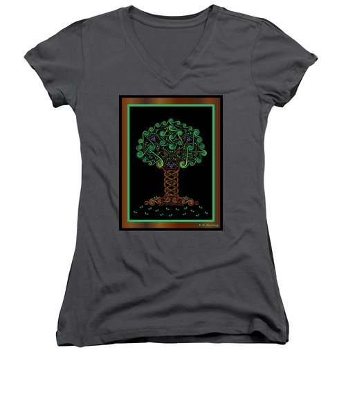 Celtic Tree Of Life Women's V-Neck (Athletic Fit)