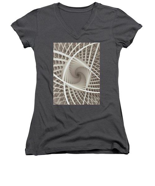 Centered White Spiral-fractal Art Women's V-Neck