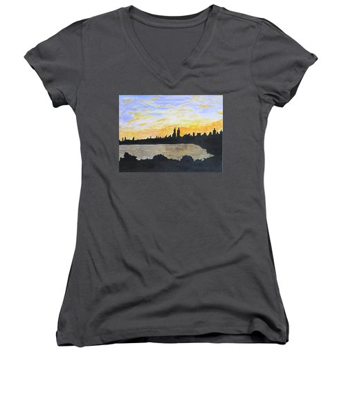 Central Park In Newyork Women's V-Neck T-Shirt (Junior Cut) by Sonali Gangane