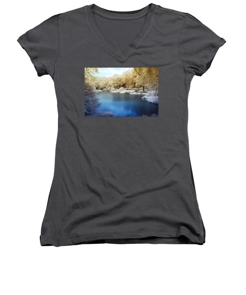 Central Park Lake Infrared Women's V-Neck