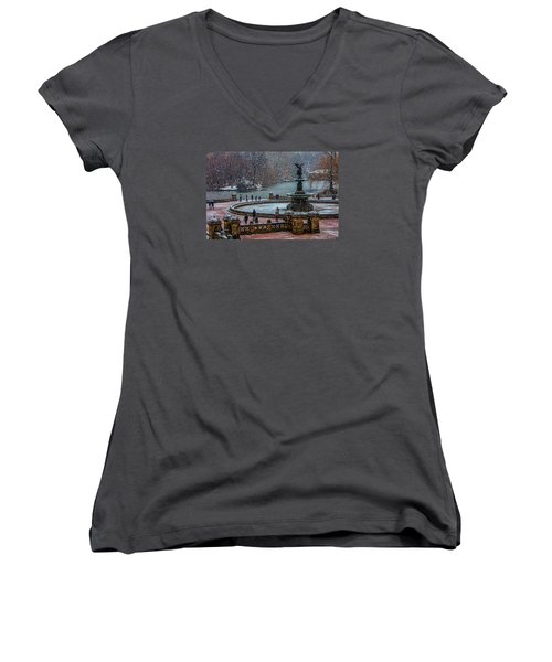 Central Park Snow Storm Women's V-Neck T-Shirt (Junior Cut) by Chris Lord