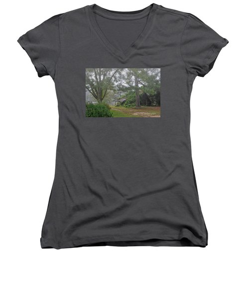 Century-old Shed In The Fog - South Carolina Women's V-Neck T-Shirt (Junior Cut) by David Perry Lawrence