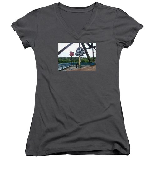 Chain Of Rocks Bridge Women's V-Neck T-Shirt (Junior Cut) by Kelly Awad