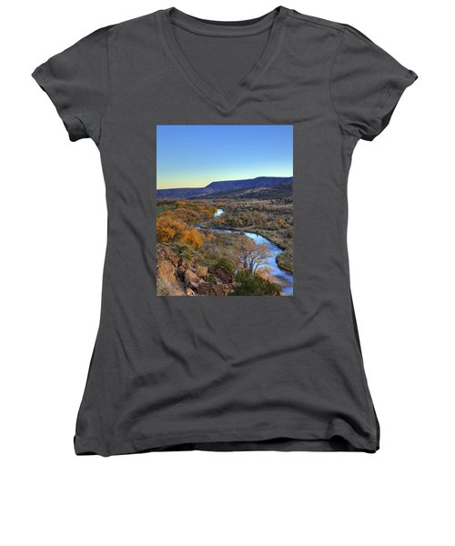 Chama River At Sunset Women's V-Neck (Athletic Fit)
