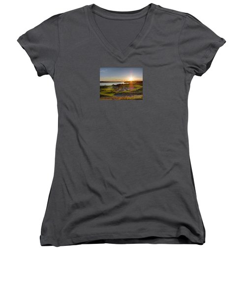 Women's V-Neck T-Shirt (Junior Cut) featuring the photograph Chambers Bay Sun Flare - 2015 U.s. Open  by Chris Anderson