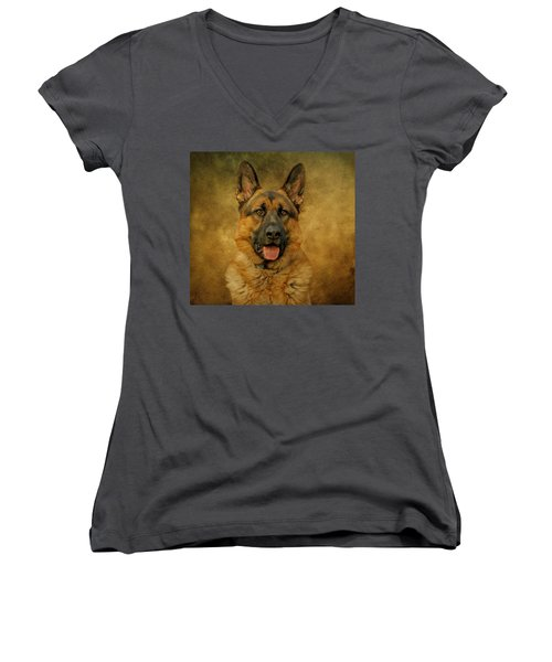 Chance - German Shepherd Women's V-Neck T-Shirt (Junior Cut) by Sandy Keeton