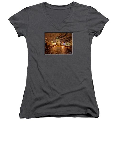 Charles Bridge At Night Women's V-Neck T-Shirt (Junior Cut) by Madeline Ellis